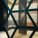 Green Room Divider With Thin Wooden Splat Inside, Grey Floor
