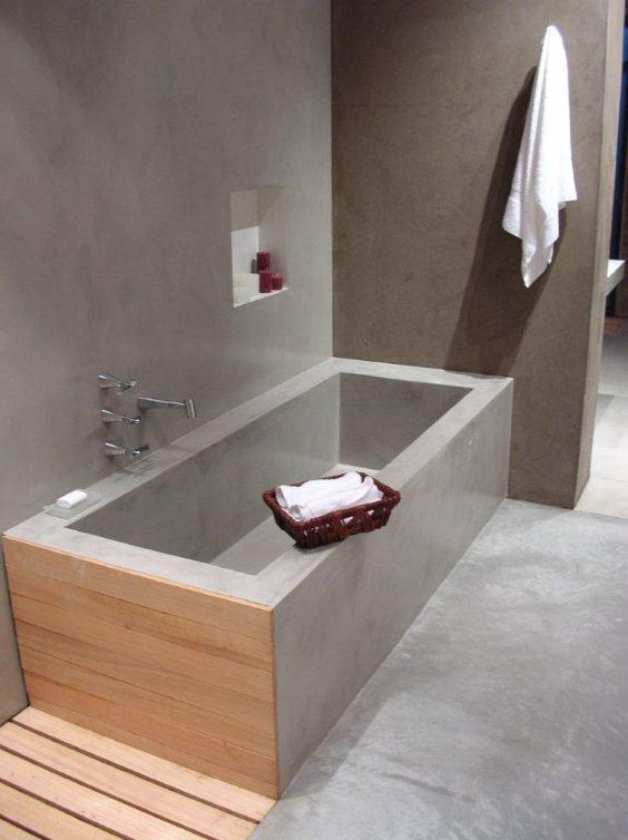 grey simple seamless bathroom, indented shelve, wooden accent