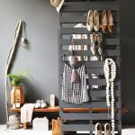 Grey Wooden Boards Partition, White Floor, Grey Rug, Grey Wall, Wooden Low Bench, Lamp