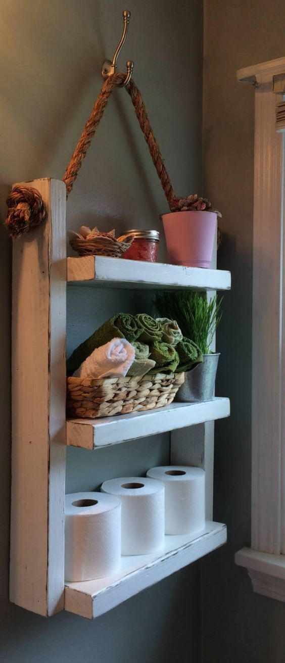 hanging wooden shelves in the bathroom