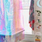 Hologram Bathroom Curtain, Wooden Floor, White Wall, White Wired Shelves, White Tub, Glass Window