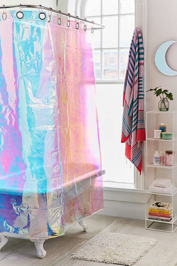 hologram bathroom curtain, wooden floor, white wall, white wired shelves, white tub, glass window