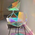 Hologram Geometrical Chairs With Black Legs, Beige Floor, Beige Wall