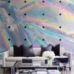 Hologram Wall With Black Dots, White Floor, Black Rug, White Sofa, Black Pillows, Glass Coffee Table