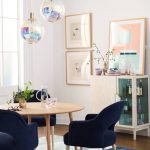 Hologram, Wooden Floor, Blue Rug, Navy Chairs, Wooden Table, White Wall, Hologram Pendant