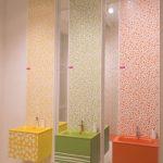 Kids Toilet, Orange, Yellow, Green Floating Vanity, Beige Floor, Beige Wal
