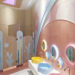 Kids Toilet, White Floor Tiles, Brown Wall, Pink Floor Tiles, Pink Backsplash, Yellow Blue Pink Sink, Round Mirror