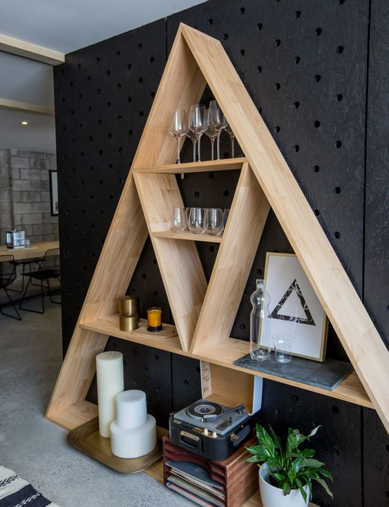 light wooden shelves in triangle