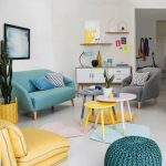 Living Room, Whote Wall Floor, Yellow Chair, Green Sofa, Grey Chair, Grey White Yellow Nesting Table, Green Ottoman, White Cabinet