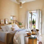 Master Bedroom, Beige Seamless Floor, Beige Wall, White Ceiling, White Bedding, Bench, Ottoman, Brick Stack For Shelves, White Curtain, Glass Door