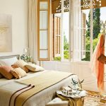 Master Bedroom, Patterned Floor Tiles, White Wall, Wooden Windows, Beige Bedding, Half Round Bench