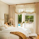Master Bedroom, Wooden Floor, Whit Wall, Beige Curtain, Glass Window, White Bedding, Wooden Side Table, Brown Bench