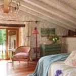 Master Bedroom, Wooden Floor, White Wooden Sloping Ceiling, White Stone Wall, Green Cabinet, White Bedding, Blue Blanket, Pink Floor Lamp