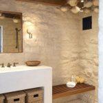 Minimalist Bathroom, White Textured Wall, White Plastered Vanity, Rattan Basket, Mirror, Bamboo Ceiling