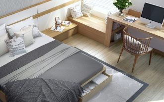 minimalist bedroom, wooden floor, wooden bed platform with storage, wooden side table, wooden window nook, window study table, wooden chair, white pendant