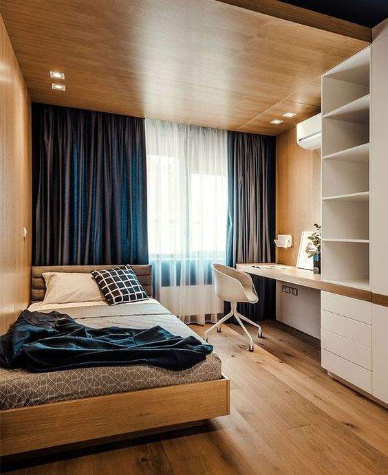 minimalist bedroom, wooden floor, wooden wall, wooden bed platform, white shelves and cabinet, built in floating table, wooden chair