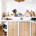 Minimalist Kitchen, Cement Cabinet With Wooden Door, Built In Shelves, Rattan Pendant, Patterned Floor