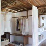 Minimalist Storage, Grey Floor, White Curtain, Hanging Rod, Wooden Shelves