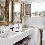 Modern Bathroom, White Plaster Cement Vanity, Wooden Framed Mirror, Wooden Rack, Silver Faucet, Wooden Shelves