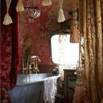 Moroccan Bathroom, Red Patterned Wall, Bohemian Accessories, Red Curtain, Grey Tub, Chandelier