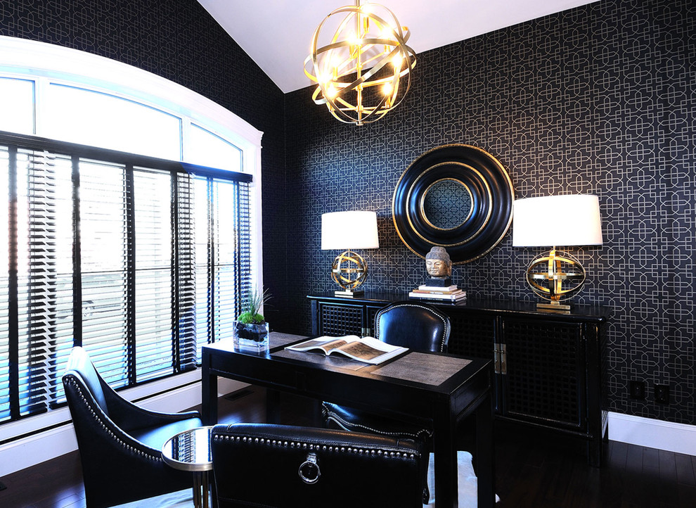 office guest chair gold chandelier black wallpaper table lamps black cabinet black desk black leathered chairs windows shutters wooden floor