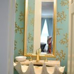 Powder Room, Green Wallpaper, Golden Framed Mirror, Shell Shaped Sink With Golden Faucet