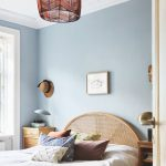 Rattan Headboard, White Bedding, Blue Wall, Pendant, Wooden Side Table, Wooden Side Cabinet