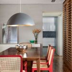 Red Wooden Chair, Rattan Back, Wooden Floor, White Wall, Silver Pendant, White Ceiling