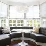 Round Bay With White Bench, Grey Thick Cushion, White Shade, White Chandelier