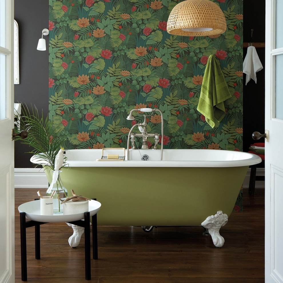 side table decorations ideas green acrylic freestanding tub side table tub filler wooden floor tropical wallpaper towel hook gray wall windows