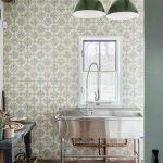 Silver Big Rectangular Sink, Patterned Wallpaper, Green Pendants, Black Wooden Table, Brown Herringbone Floor Tiles