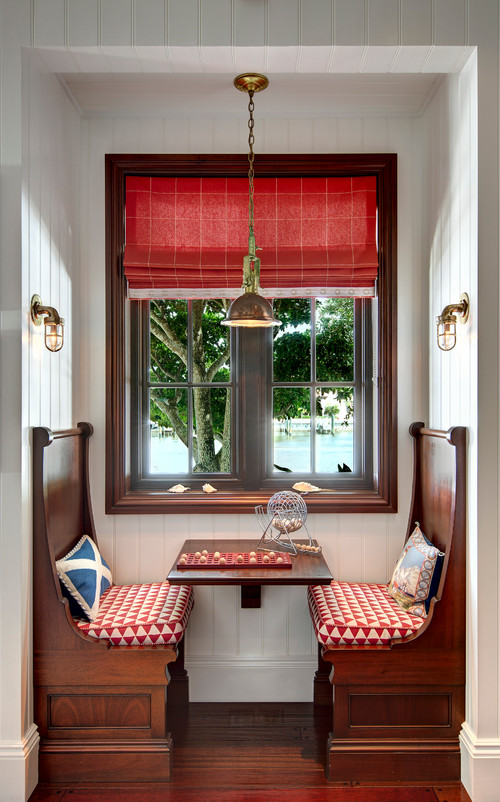 small banquette, brown wooden bench with high back, red cushion, floating brown woden, brown wooden window