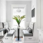 Small Banquette, Wooden Floor, White Wooden Built In Bench, Black Table, White Pendant, White Wall, Grey Cushion