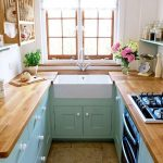 Small Kitchen, Green Bottom Wooden Cabinet, White Wall, Wooden Top, Wooden Framed Window, Wooden Floating Shelves