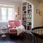 Small Library In The Alcove, Built In Shelves, Pink Tufted Chair, Window, Side Table
