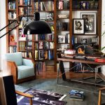 Study Room, Wooden Floor, Grey Rug, Blue Chairs, Study Tabla Dn Chair, Black Floor Lamp, Bookshelves With Stairs