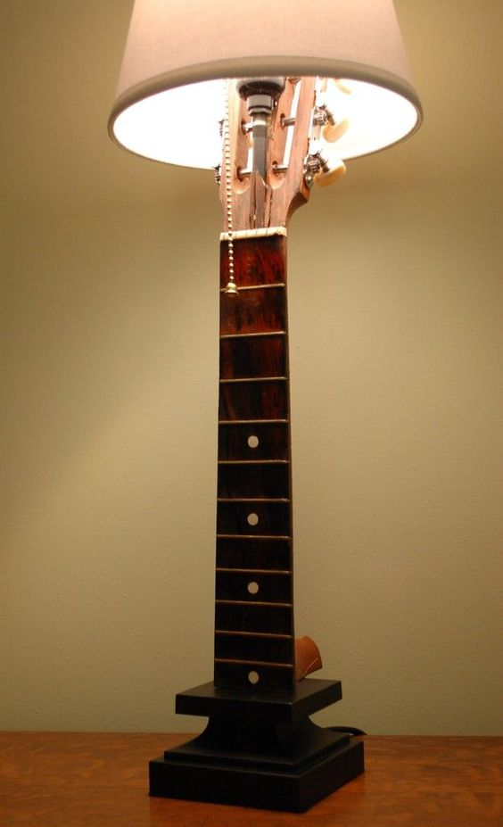 table lamp from guitar, white cover