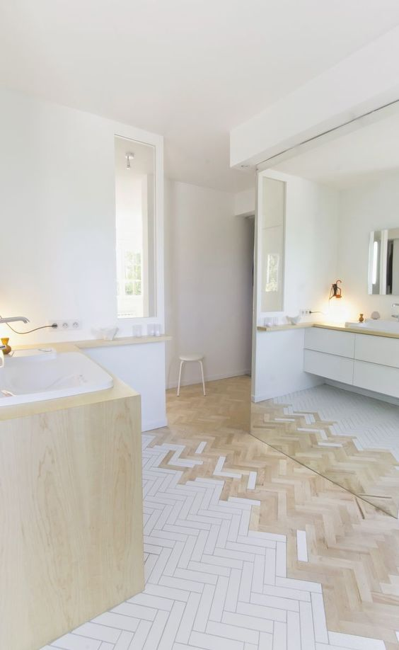 white and brown wooden herringbone floor tiles on the bathroom, white floating vanity, wooden vanity, white wall