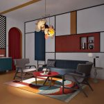 White Wall, Blue Yellow Red Block With Shelves, Brown Floor, Blue Sofa, Grey Chairs, Red Round Table, Pendant, Blue Cabinet