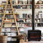 White Wooden Floating Bookshelves, Woden Stairs, Woden Platform, Black Metal Fireplace