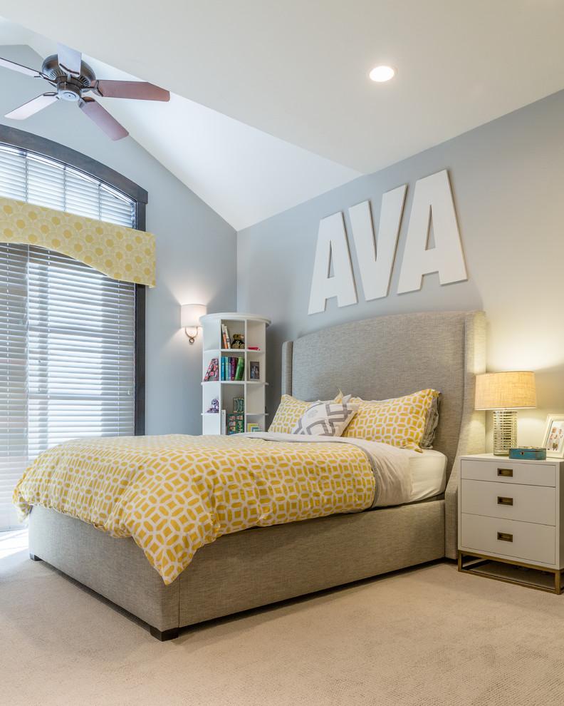 window valance ceiling fan large window shutter gray walls wall sconces white bookcase white nightstands table lamp beige bed headboard