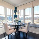Window Valance Pendant Lamp Glass Windows Window Seats White Chairs Black Pedestal Table Pillows White Valances Blue Walls