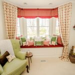 Window Valance Red Valances Patterned Curtains Rattan Baskets Green Armchairs Green And Coral Pillows Window Seat Side Table