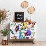 Wooden Cabinet With Flower Painted Door, Wooden Floor, White Wall, Plants