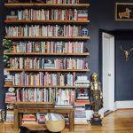 Wooden Floating Shelves, Wooden Floor, Wooden Table, Navy Wall