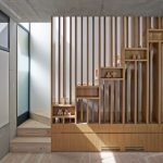 Wooden Slat On The Stairs With Some Boxes For Shelves, Wooden Floor, Grey Ceiling