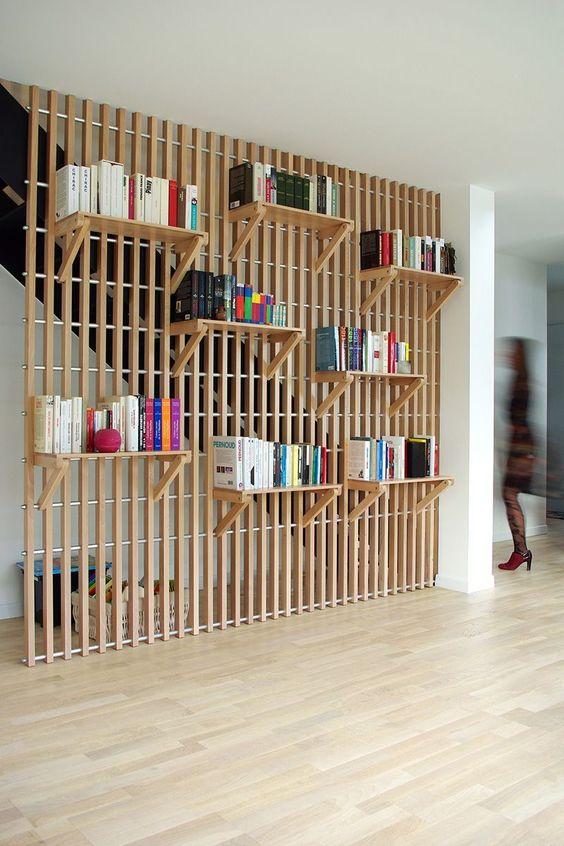 wooden splat, floating shelves, wooden floor, white ceiling