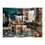 Kitchen, Blue White Brown Hexagonal Tiles, Open Brick Wall, Green Open Brick Wall, Silver Cabinet, Black Cupboard, Wooden Island, Wooden Stool, Black Pendants.jpg