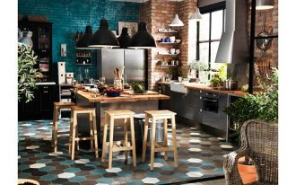 kitchen, blue white brown hexagonal tiles, open brick wall, green open brick wall, silver cabinet, black cupboard, wooden island, wooden stool, black pendants.jpg