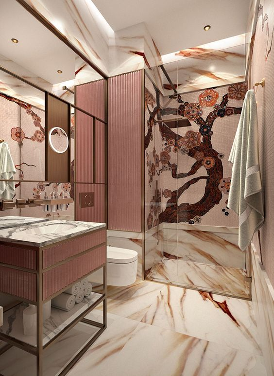 bathroom, marble floor and wall with red pattern, marbled top vanity shelves, pink textured accent wall, white floating toilet, large mirror, patterned wall in shower